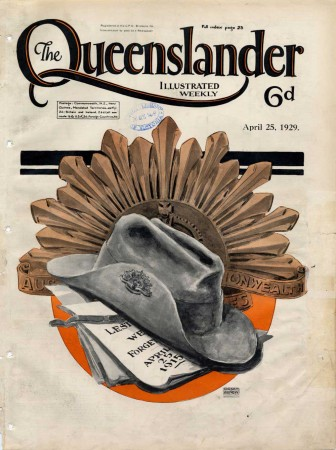 The Anzac Day issue features an Australian soldier's slouch hat resting on a sheet of paper on which is written 'Lest we forget April 25, 1915'. The Australian Commonwealth Military Forces badge featuring a crown and rising sun is pinned to the hat and a large image of the badge appears behind the hat.