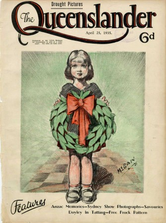 A drawing by Ian McBain features a small child carrying a wreath in memory of the Anzacs; Caption: Anzac memories
