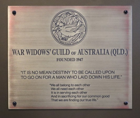 War Widows' Guild of Australia (Qld) plaque