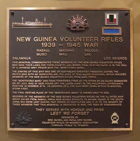 New Guinea Volunteer Rifles plaque