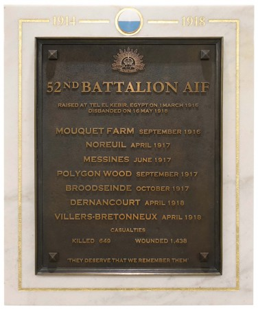 52nd Australian Infantry Battalion plaque