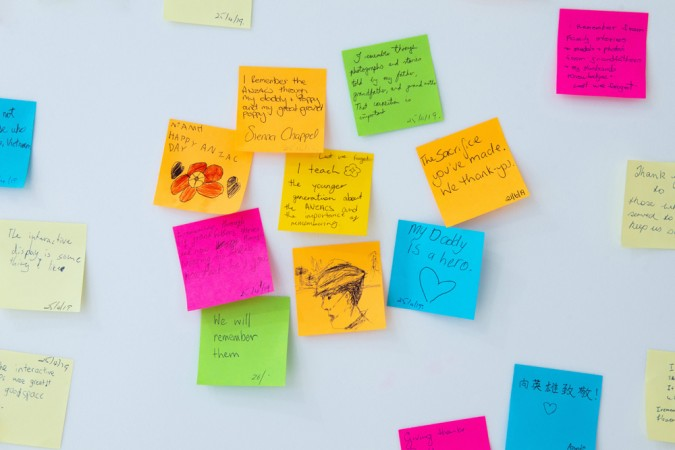 Close up of post it notes on wall