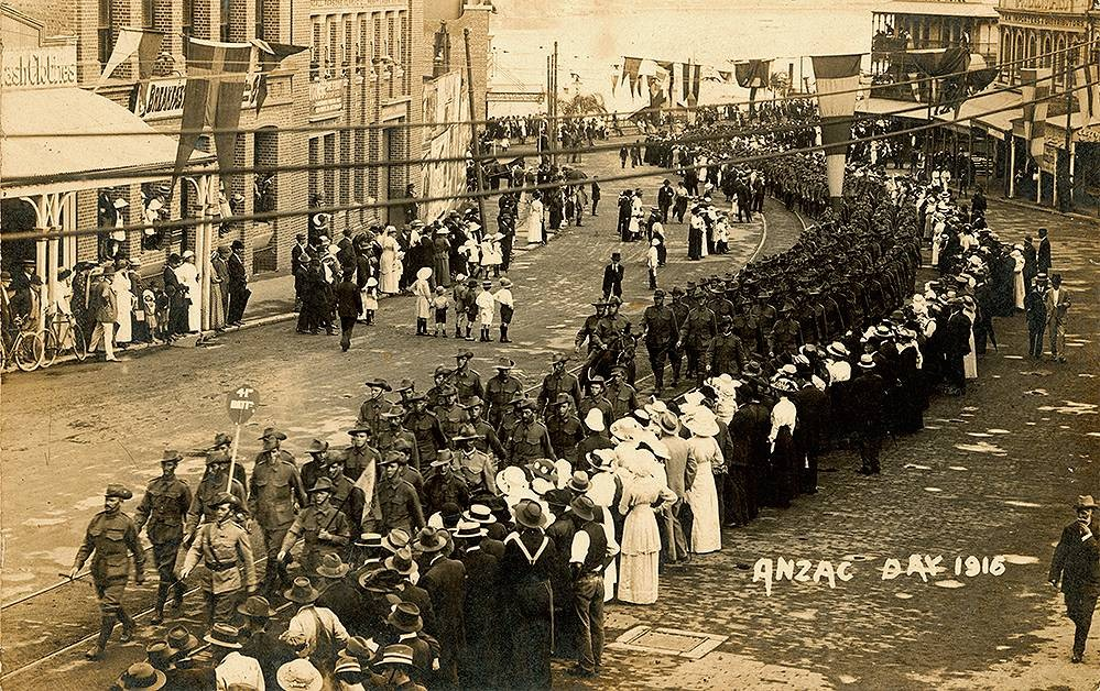 Anzac Day procession through the streets of Brisbane, 1916