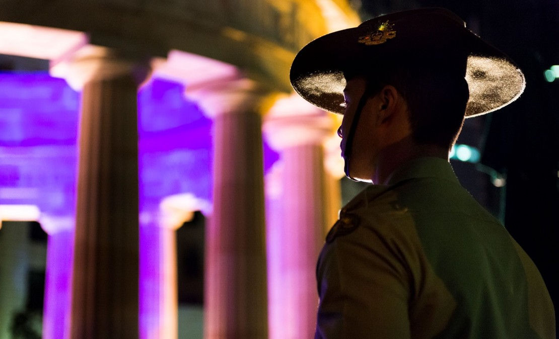 Solider standing at Anzac Square, Brisbane
