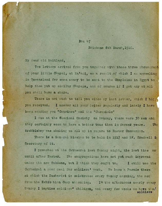 David John Garland, Letter to Reverend William Maitland Woods, 6th March 1916
