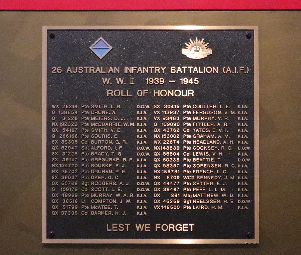 26th Australian Infantry Battalion plaque