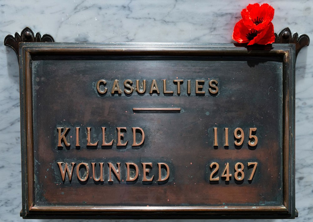 Plaque showing casualty figures for killed and wounded