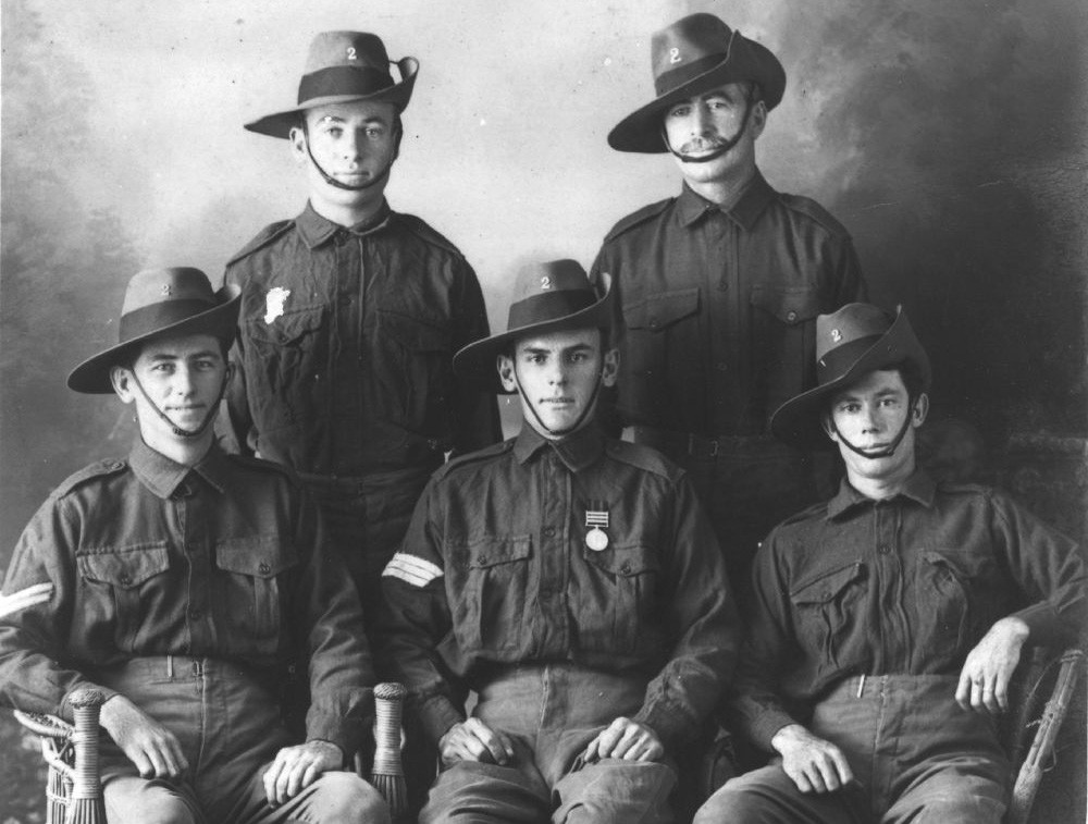 Group portrait of five soldiers, 1900-1920