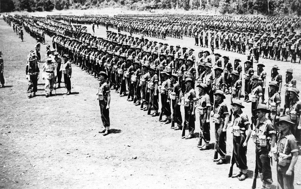 Military parade of Australian soldiers in New Guinea