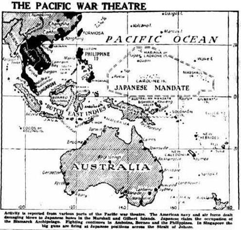Headlines Townsville Daily Bulletin, The Pacific War Theatre, Tuesday 3 February 1942, pg. 3.